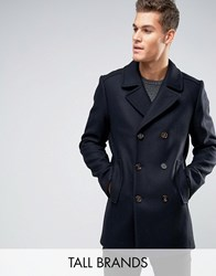 Ted Baker Tall Peacoat In Wool Navy