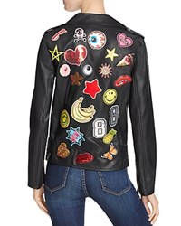 Sunset Spring Faux Leather Patch Moto Jacket Black