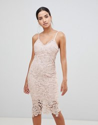 Ax Paris Lace Cami Midi Dress Pink
