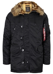 Alpha Black Faux Fur Trimmed Padded Parka