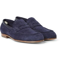 Officine Creative Belmondo Suede Penny Loafers Navy