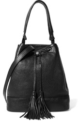 Sandro Atika Textured Leather Shoulder Bag Black