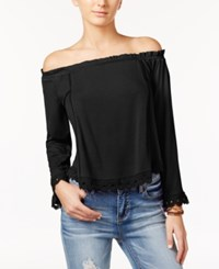One Hart Juniors' Ruffled Off The Shoulder Top Only At Macy's Caviar