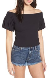 Love Fire Rib Knit Off The Shoulder Top Black