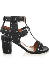 Laurence Dacade Helie Studded Textured Leather Sandals Black