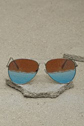Forever 21 Mens Mirror Aviator Sunglasses Blue Silver