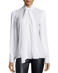 Michael Kors Pleated Sleeve Tie Neck Blouse Optic White