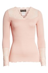 Rosemunde Brigit Lace Embellished Silk Blend Top Misty Rose