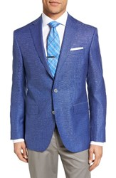 David Donahue Men's Big And Tall Connor Classic Fit Check Wool Sport Coat Blue