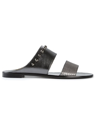 Lanvin Studded Double Strap Mules Metallic