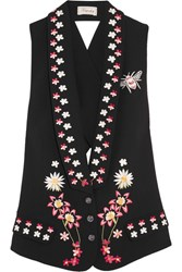 Temperley London Juniper Cutout Embroidered Crepe Vest Black