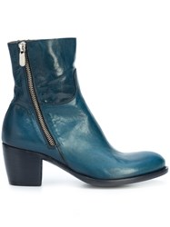 Rocco P. Mid Heel Ankle Boots Leather Blue