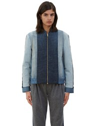 Schmidttakahashi Quilted Denim Patchwork Bomber Jacket Navy