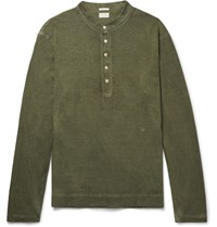 Massimo Alba Hawai Watercolour Dyed Cotton And Cashmere Blend Henley T Shirt Green