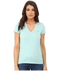 Lacoste Short Sleeve Classic V Neck Tee Corsica Aqua Chine Women's T Shirt Blue