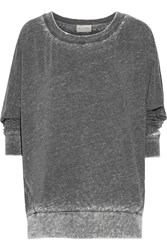 American Vintage Leophile Devore Cotton Blend Sweatshirt Gray