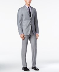 Dkny Men's Slim Fit Light Gray Flannel Suit