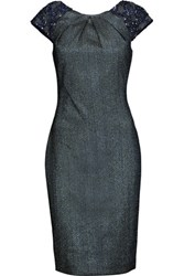 Badgley Mischka Embellished Metallic Jacquard Dress Midnight Blue