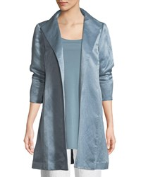 Eileen Fisher Organic Linen Silk Satin High Collar Coat Blue Steel