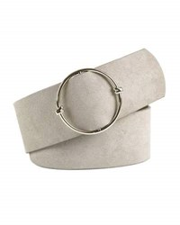 Neiman Marcus Wide Suede Belt W Circle Slide Buckle Beige