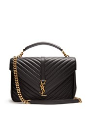 Saint Laurent College Large Quilted Leather Shoulder Bag Black