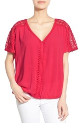 Women's Caslon Lace Trim V Neck Gauze Boho Top Red Barberry