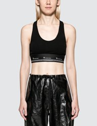 Alexander Wang Compact Rib Cutout Crop Top With T Logo Elastic