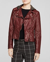 Free People Jacket Hooded Moto Faux Leather Red
