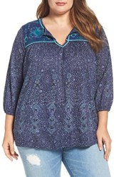 Lucky Brand Plus Size Women's Embroidered Split Neck Top