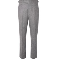 Anderson And Sheppard Houndstooth Wool Trousers Navy