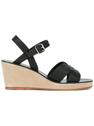 A.P.C. Classic Wedge Sandals Women Leather 38 Black