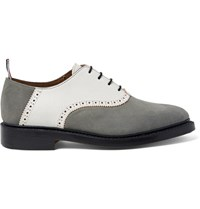 Thom Browne Two Tone Nubuck And Textured Leather Oxford Shoes Gray