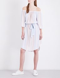 Ag Jeans The Michelle Off The Shoulder Striped Dress Pale Terracotta Multi
