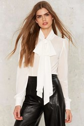 Nasty Gal Don't Ask Tie Pussy Bow Blouse Ivory White