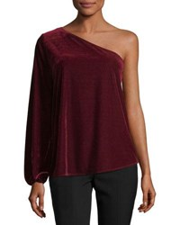 Ramy Brook One Shoulder Velvet Top Red