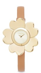 Michael Kors Mena Leather Watch Gold Peanut