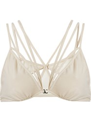 Giuliana Romanno Tulle Stripped Bra Nude And Neutrals