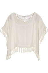Chelsea Flower Molly Fringed Broderie Anglaise Voile Top White