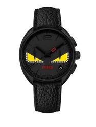 Momento Fendi Bug Chronograph Diamond Black Pvd Stainless Steel And Leather Strap Watch Black Yellow