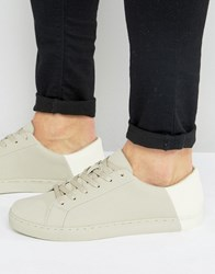 Asos Trainers In Stone With Contrast Heel Stone