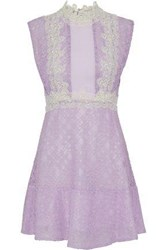 Sandro Peaches Pintucked Crepe Paneled Cotton Blend Corded Lace Mini Dress Lavender