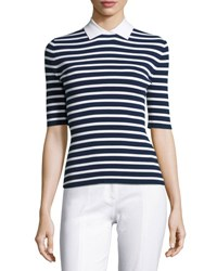Michael Kors Striped Half Sleeve Sweater W Point Collar Navy