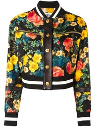 Fausto Puglisi Floral Print Bomber Jacket Black