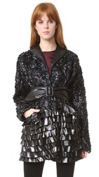 Rodarte Faux Leather Floral Wrap Jacket Black