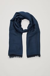 Cos Two Tone Scarf With Silk Blue