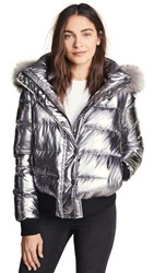Jocelyn Quilted Down Jacket With Fur Gunmetal