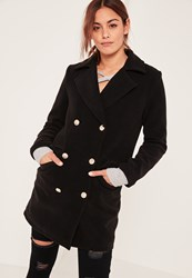 Missguided Black Short Faux Wool Military Coat