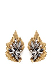 Erickson Beamon 'Milky Way' 24K Gold Plated Brass Swarovski Crystal Leaf Earrings Metallic Multi Colour