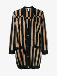 Loewe Striped Knitted Cardigan Beige Black White