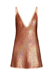 Ashish Sequin Embellished Plunging Silk Mini Dress Nude